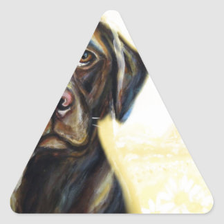 Chocolate Labrador in Paris Triangle Sticker