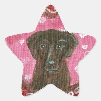 Chocolate Labrador Love Heart Valentine Star Sticker