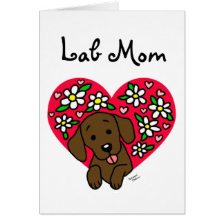 Chocolate Labrador Mom Floral Heart