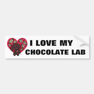 Chocolate Labrador Mom Floral Heart Bumper Sticker