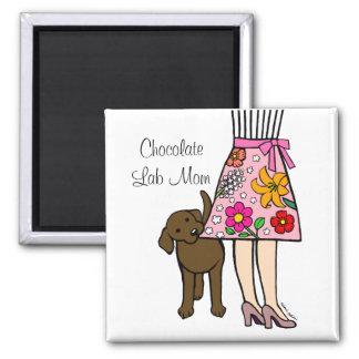 Chocolate Labrador & Mom's Skirt Cartoon 2 Inch Square Magnet