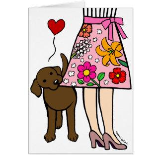 Chocolate Labrador & Mom's Skirt Cartoon Card