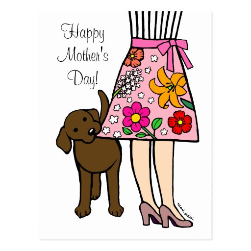 Chocolate Labrador & Mom's Skirt Cartoon Postcard