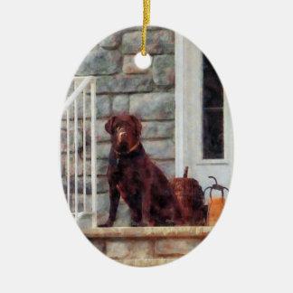Chocolate Labrador on Porch Christmas Tree Ornaments