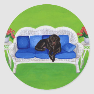 Chocolate Labrador on the Wicker Couch Classic Round Sticker