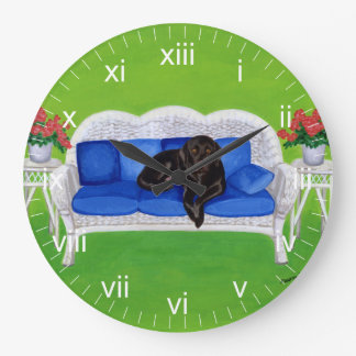 Chocolate Labrador on the Wicker Couch Large Clock
