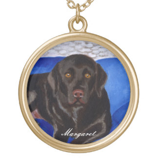 Chocolate Labrador on the Wicker Couch Custom Necklace