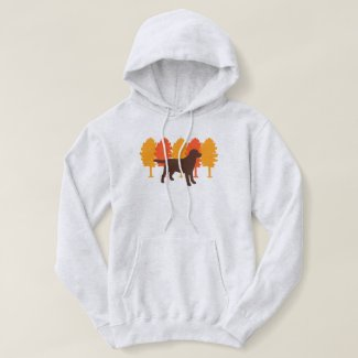 Chocolate Labrador Outline Autumn Trees Hoodie