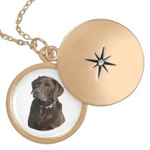 Chocolate Labrador photo portrait Gold Finish Necklace