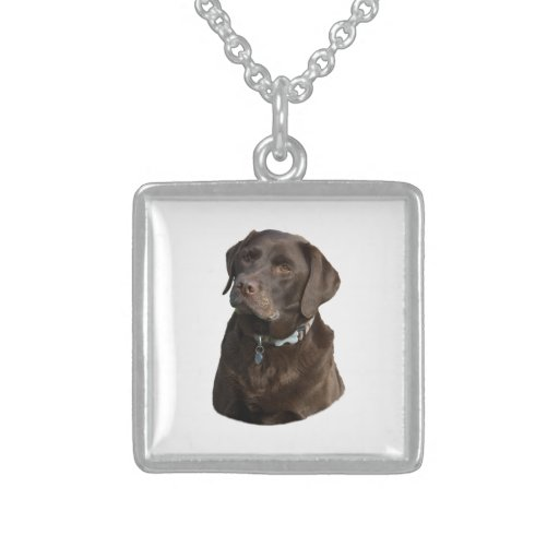 Chocolate Labrador photo portrait Necklaces