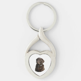 Chocolate Labrador photo portrait Silver-Colored Heart-Shaped Metal Keychain
