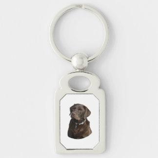 Chocolate Labrador photo portrait Silver-Colored Rectangular Metal Keychain