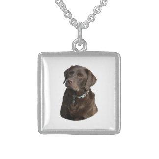 Chocolate Labrador photo portrait Square Pendant Necklace