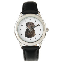Chocolate Labrador photo portrait Wrist Watch