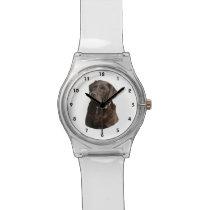 Chocolate Labrador photo portrait Wristwatch