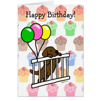 Chocolate Labrador Puppy Cartoon Birthday Card