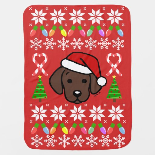 Chocolate Labrador Puppy Christmas Pattern Baby Blanket