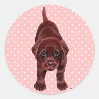 Chocolate Labrador Puppy Classic Round Sticker