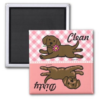 Chocolate Labrador Puppy Clean / Dirty 2 Inch Square Magnet