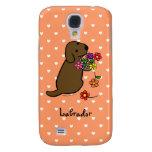 Chocolate Labrador Puppy Flower Basket Cartoon Samsung Galaxy S4 Covers