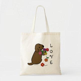 Chocolate Labrador Puppy Flower Basket Cartoon Tote Bag