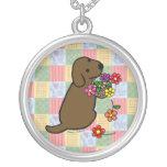 Chocolate Labrador Puppy Flower Basket Necklace