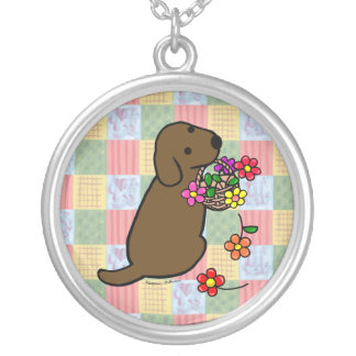 Chocolate Labrador Puppy Flower Basket Silver Plated Necklace