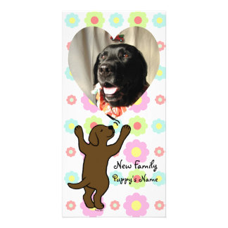Chocolate Labrador Puppy Hug Cartoon Floral Photo Card