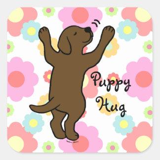 Chocolate Labrador Puppy Hug Cartoon Floral Square Sticker