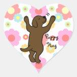 Chocolate Labrador Puppy Hug Cartoon Floral Heart Sticker