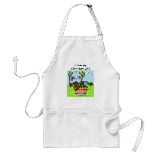Chocolate Labrador Puppy Pool Adult Apron
