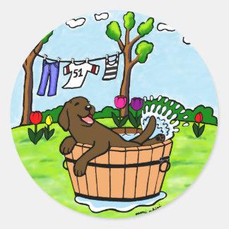 Chocolate Labrador Puppy Pool Classic Round Sticker