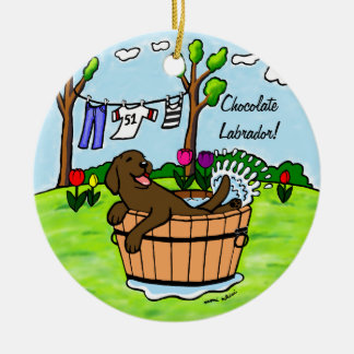 Chocolate Labrador Puppy Pool Double-Sided Ceramic Round Christmas Ornament
