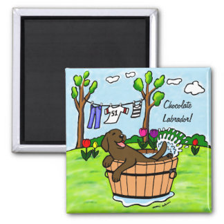 Chocolate Labrador Puppy Pool 2 Inch Square Magnet