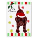Chocolate Labrador Puppy & Santa Hat Christmas Greeting Cards