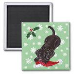Chocolate Labrador Puppy & Santa Hat Christmas Magnets