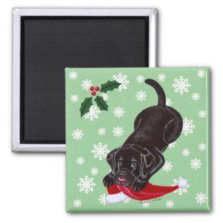 Chocolate Labrador Puppy & Santa Hat Christmas Magnet