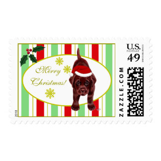 Chocolate Labrador Puppy & Santa Hat Christmas Postage