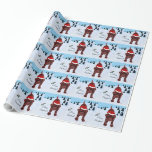 Chocolate Labrador Puppy & Santa Hat Christmas Gift Wrapping Paper