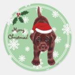 Chocolate Labrador Puppy Snowflake Round Sticker