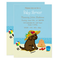 Chocolate Labrador Puppy Straw Hat Baby Shower Invitation