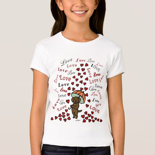 Chocolate Labrador Rain of Hearts T-Shirt