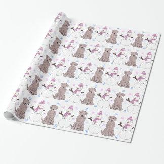 Chocolate Labrador Retriever And Snowman Wrapping Paper