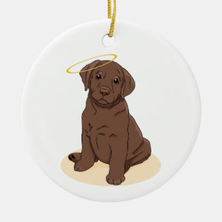 Chocolate Labrador Retriever Angel Ceramic Ornament