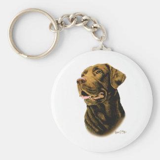 Chocolate Labrador Retriever Basic Round Button Keychain
