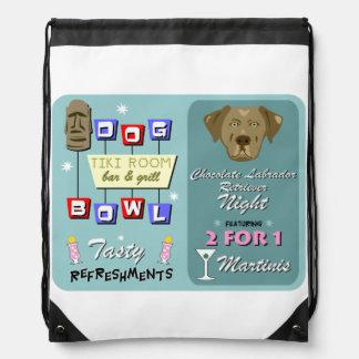 Chocolate Labrador Retriever Bowling Drawstring Backpack