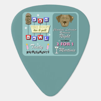 Chocolate Labrador Retriever Bowling Guitar Pick