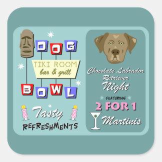 Chocolate Labrador Retriever Bowling Square Sticker