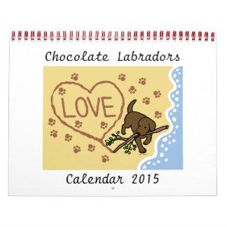 Chocolate Labrador Retriever Cartoon Calendar 2015