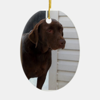 Chocolate Labrador Retriever Ceramic Ornament